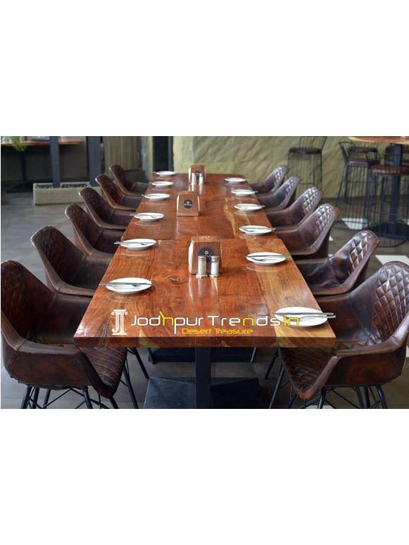 Original Leather Solid Natural Wood Industrial Long Table Design