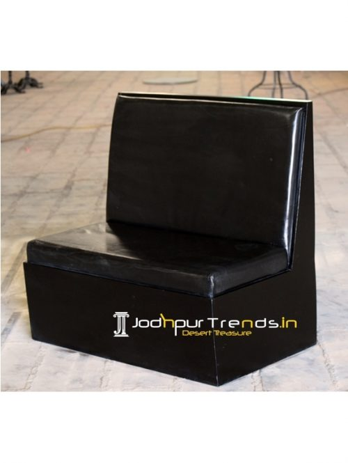 Plain Leather Solid Wood Structure Booth Sofa Design