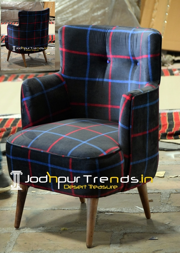 Printed Fabric Upholstered Wooden Accent Chair
