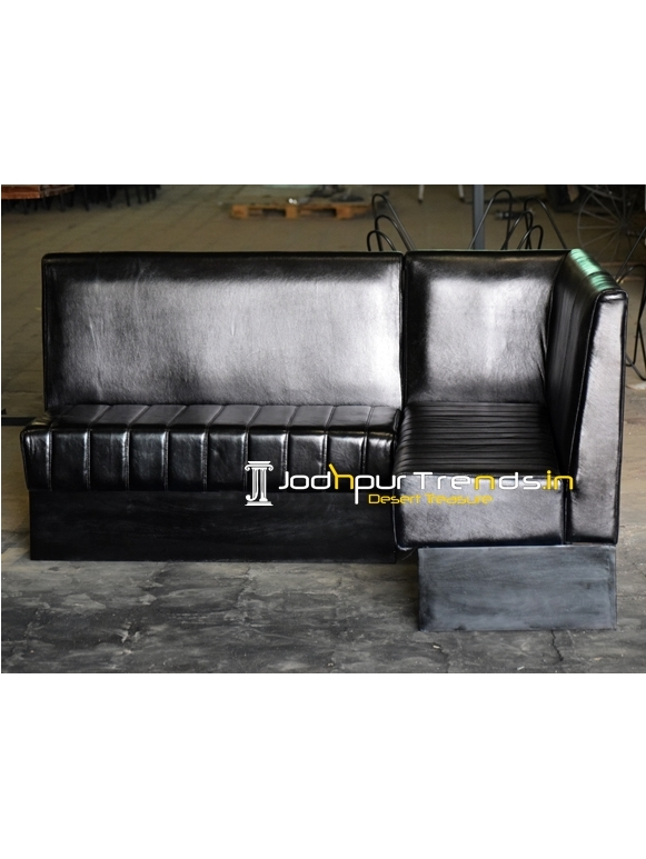 Pure Leather L Shade Hospitality Restaurant Sofa