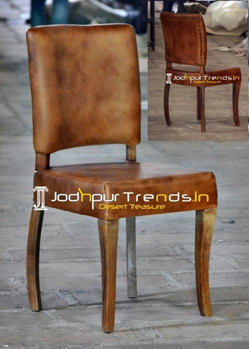 Pure Leather Wooden Frame Fine Dine Chair