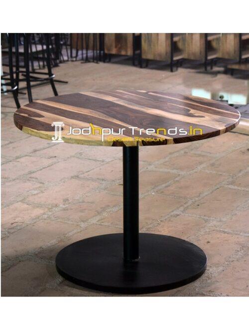 Round Base Metal Design Indian Rosewood Folding Table