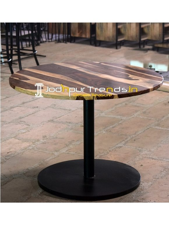 Round Base Metal Design Indian Rosewood Folding Table