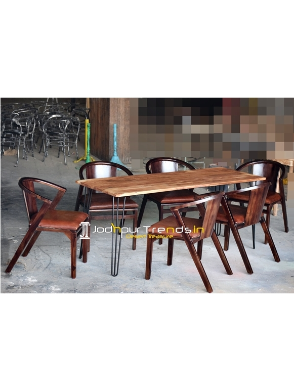 Solid Indian Wood Metal Combo Restaurant Table Set