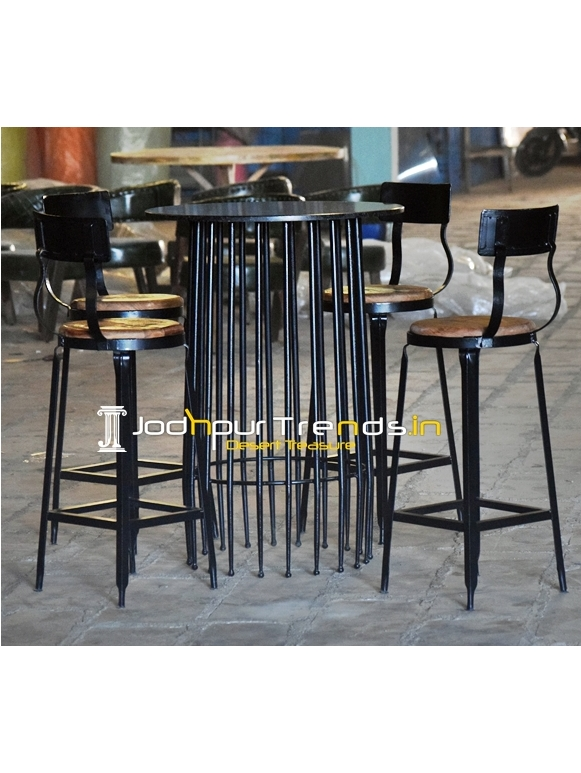 Solid Metal Granite Top Outdoor Bar Chairs Set