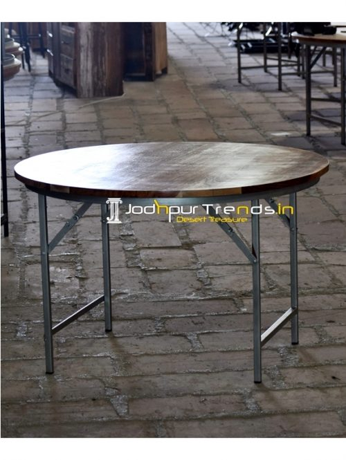 Solid Metal Indian Wood Folding Banquet Table