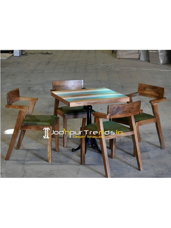 Solid Wood Casting Folding Table Four Seater Set