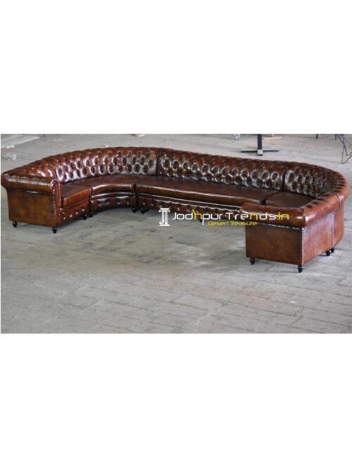Tufted Design Pure Leather Long Sofa Design