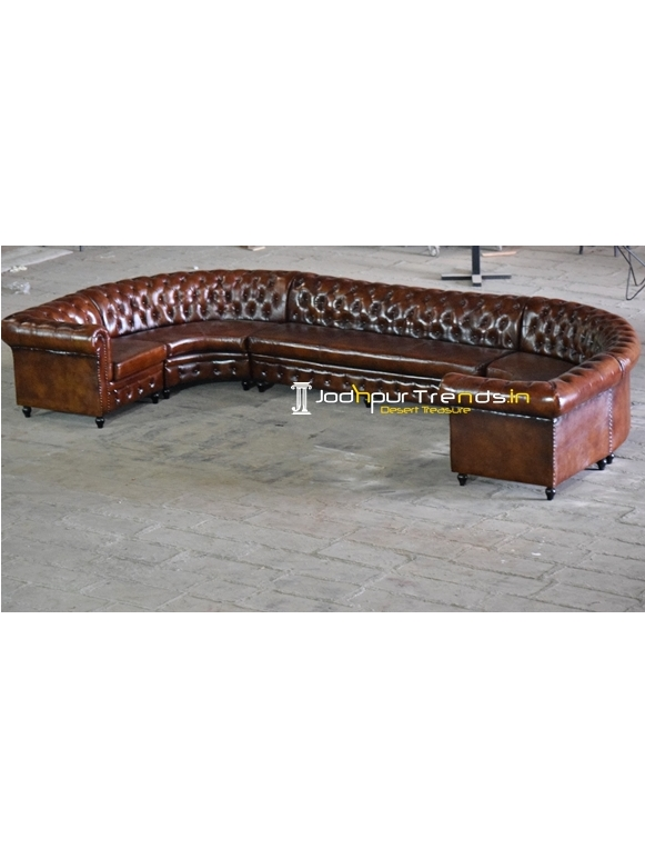 Tufted Design Pure Leather Long Sofa Design