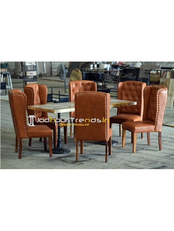 Tufted Design Upholstered Casting Dining Set