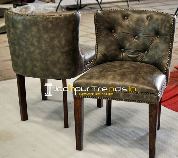 Tufted Leatherite Solid Wood Upholstered Chair