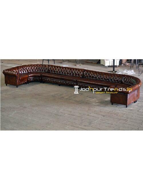 Tufted Original Leather Long Restaurant Sofa Design