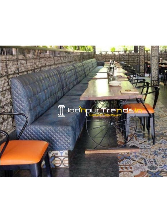 Tufted Upholstered Industrial Theme Long Restaurant Seating