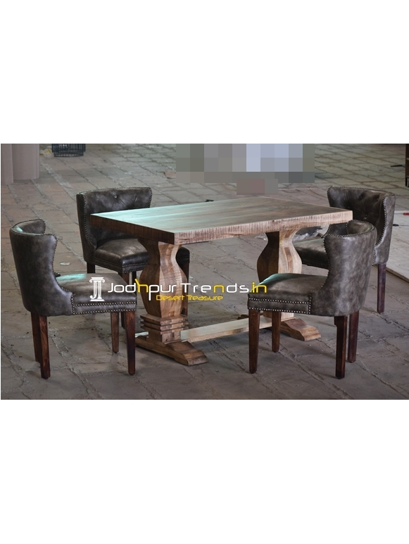 Tufted Upholstered Mango Wood Dining Set