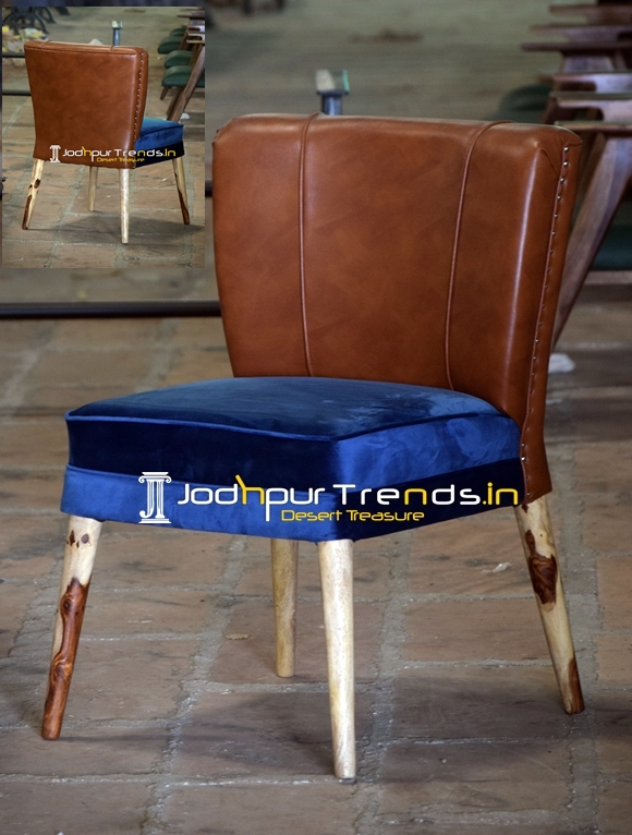 Velvet Wooden Leatherite Combo Upholstered Chair
