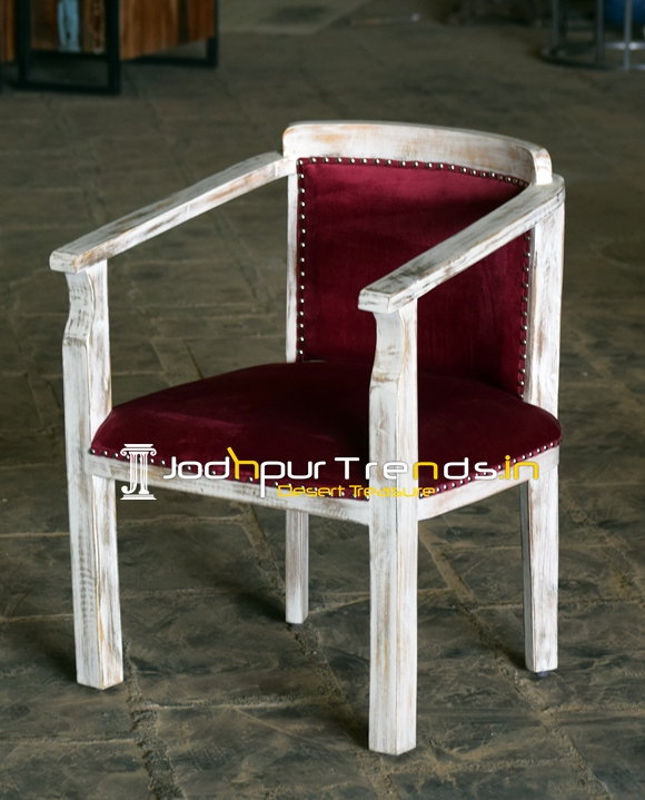 White Distress Solid Wood Velvet Fabric Fine Dine Chair