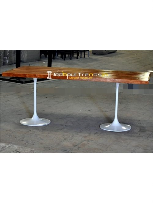 White Finish Duel Base Natural Tone Folding Dining Table