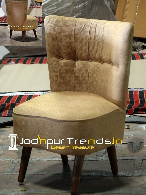 Yellow Tufted Fabric Design Upholstered Accent Chair