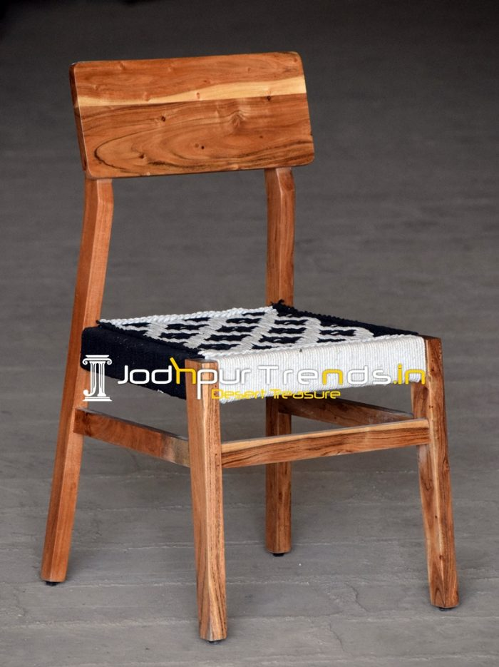 Natural Solid Wood Cotton Rope Weaving Dining Chair