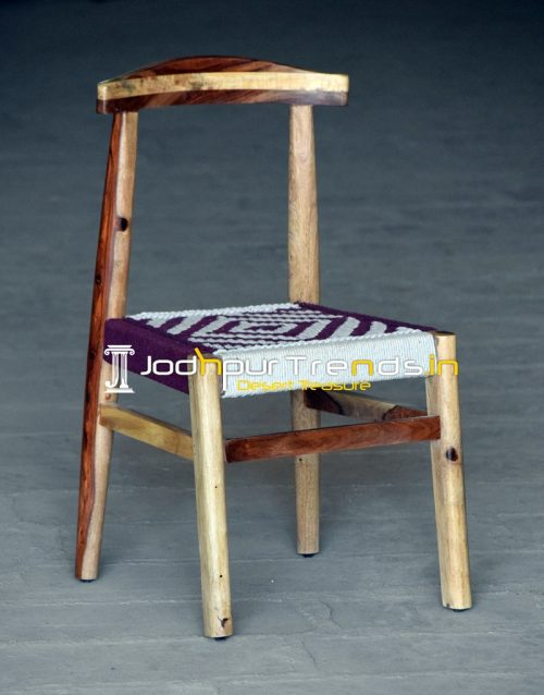 Rose Wood Cotton Rope Weaving Restaurant Chair