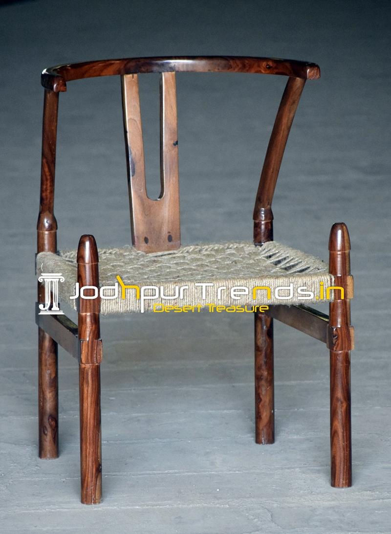 Rose Wood Jute Weaving Hotel Room Chair