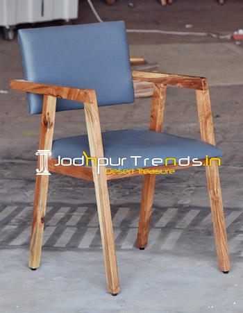 Acacia Wood Leatheritte Upholstered Fine Dine Chair