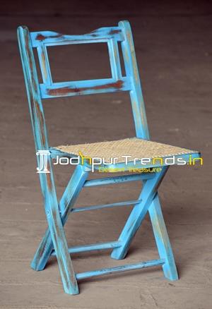 Blue Distress Natural Cane Folding Tent Camp Chair