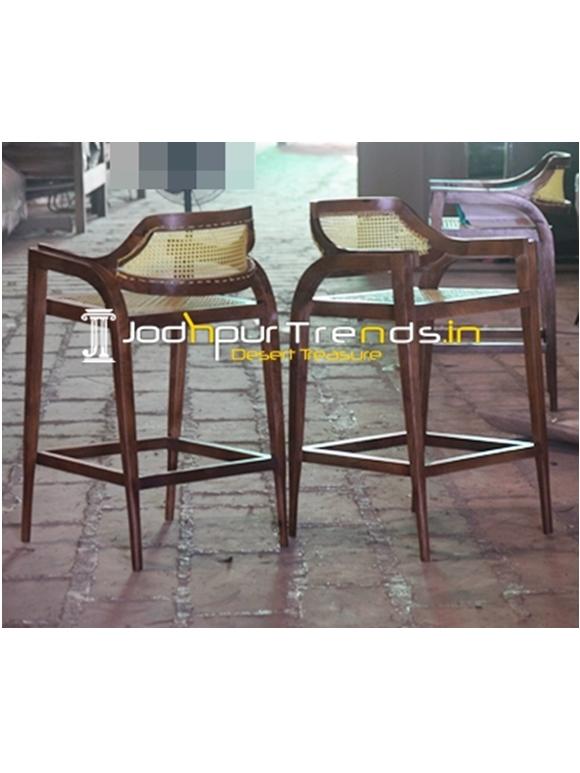 Cane Weaving Natural Solid Wood Modern Bar Chair