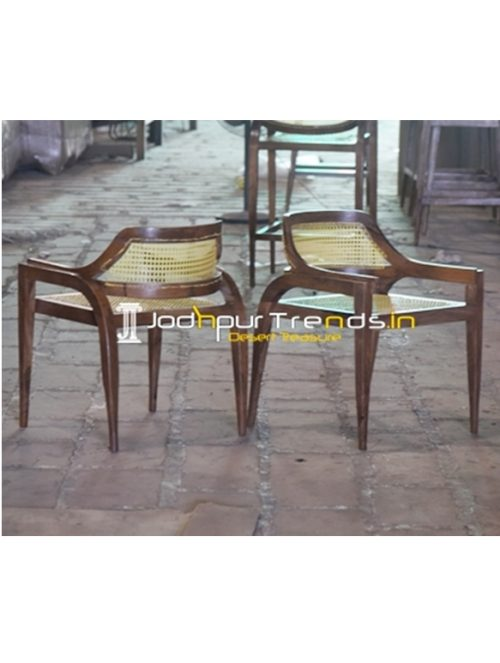 Cane Weaving Natural Solid Wood Modern Chair