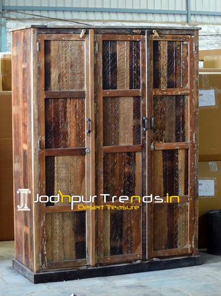 Carved Three Panel Solid Recycled Boat Wood Furniture Wardrobe