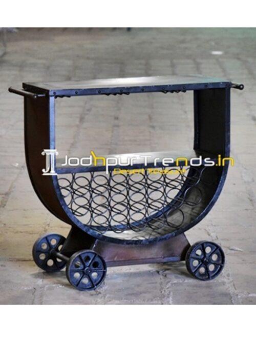 Casting Wheel Glass Holder Industrial Wine Rack