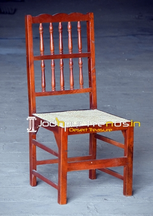 Curved Mango Wood Natural Cane Chair