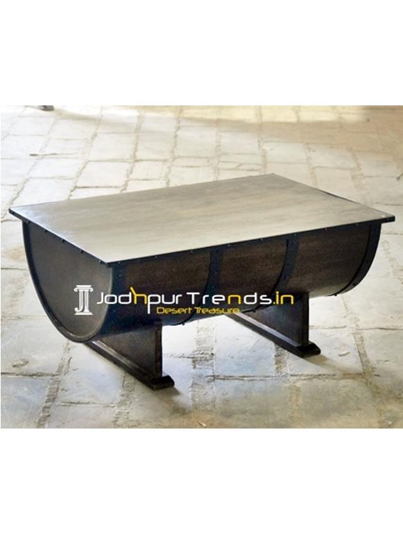 Drum Pattern Solid Wood Metal Center Table Design