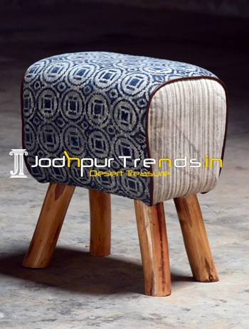 Duel Fabric Solid Wood Hand Crafted Pouf Ottoman
