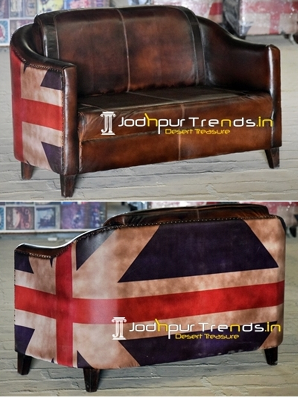 English Flag Printed Fabric Goat Leather Two Seater Sofa