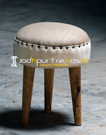 Fabric Upholstered Indian Pouf Furniture Design
