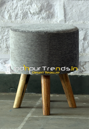 Fabric Upholstered Wooden Structured Pouf Stool