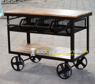 Four Drawer Wooden Iron Industrial Theme Trolley