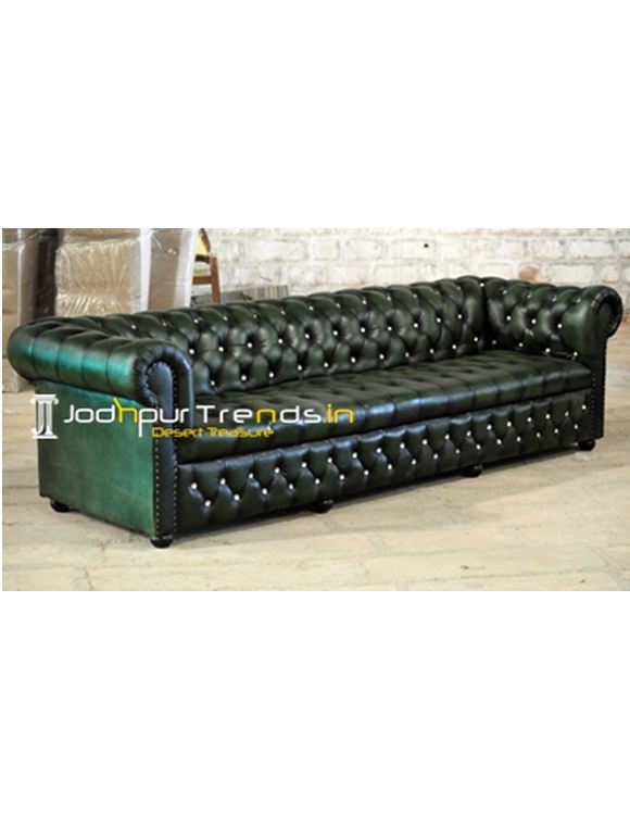 Genuine Goat Leather Chesterfield Couch with Buttons
