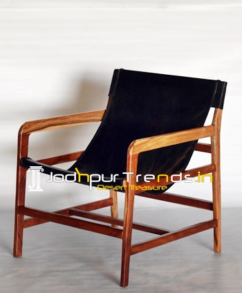 Genuine Leather Solid Acacia Wood Unique Rest Chair