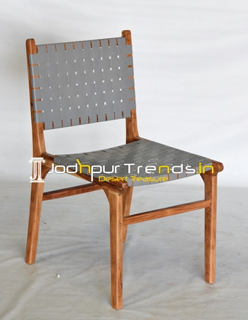 Genuine Leather Strip Pattern Solid Acacia Wood Dining Chair