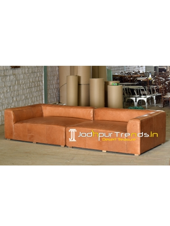 Grand Buff Leather Couch for Living Room