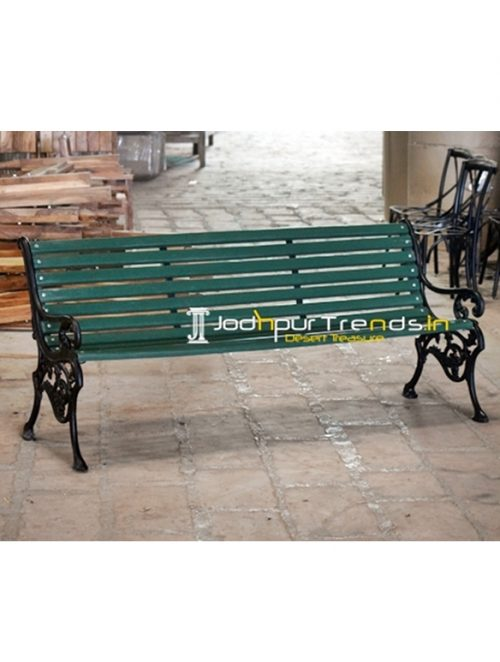 Green & Black Casting Outdoor Bench