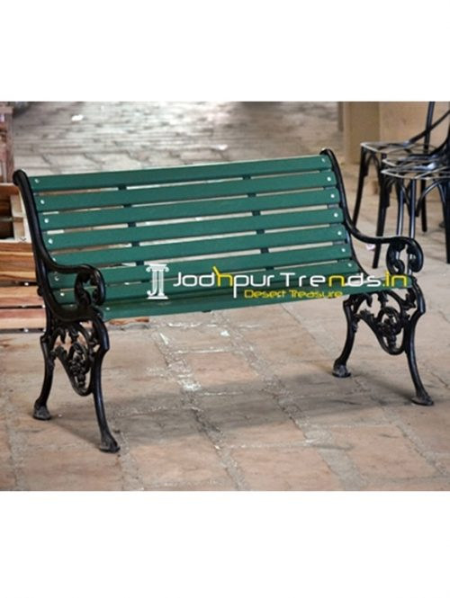 Green & Black Casting Two Seater Outdoor Bench