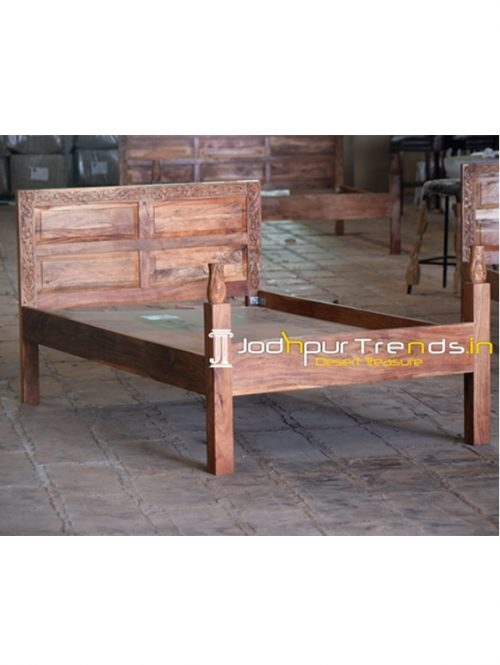 Hand Carved Folding Acacia Wood Panel Single Bed
