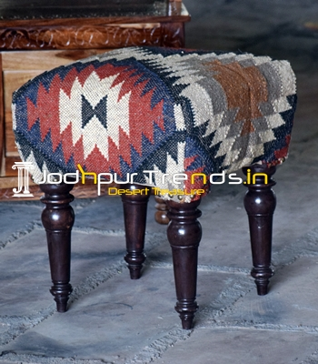 Hand Crafted Dari Fabric Carved Wood Pouf Stool