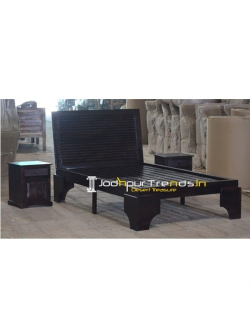 Indian Hardwood Walnut Finish Platform Bed Design