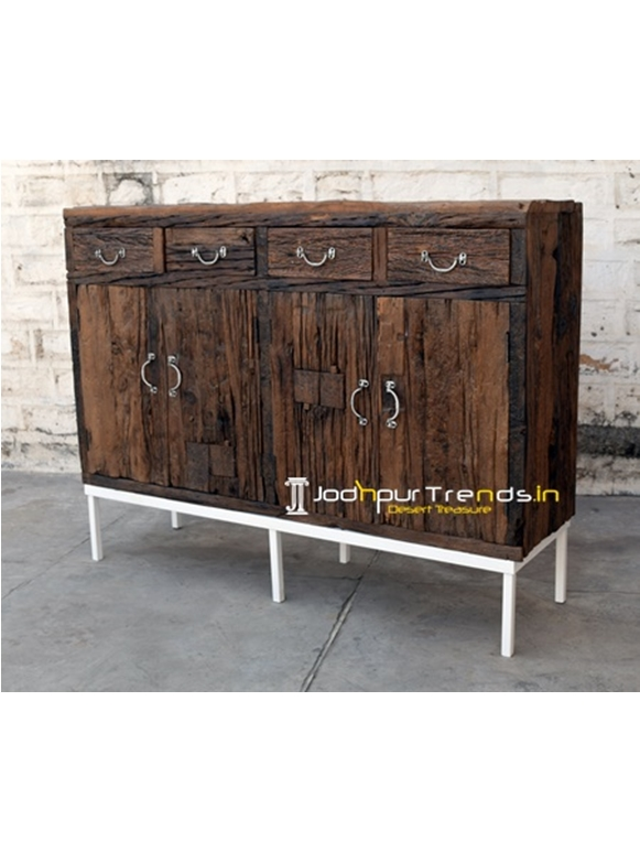 Indian Railway Sleeper Wood Sideboard Furniture