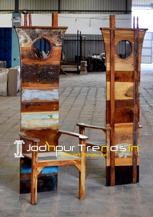 Indian Reclaimed Wood Boat Design Chair