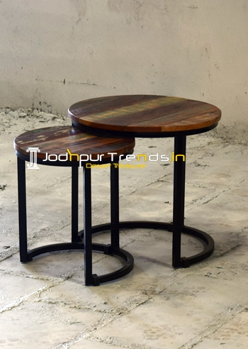 Indian Reclaimed Wood Set of Two Center Table Set